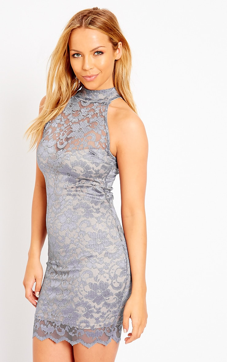 Soffi Grey High Neck Lace Bodycon Dress 4