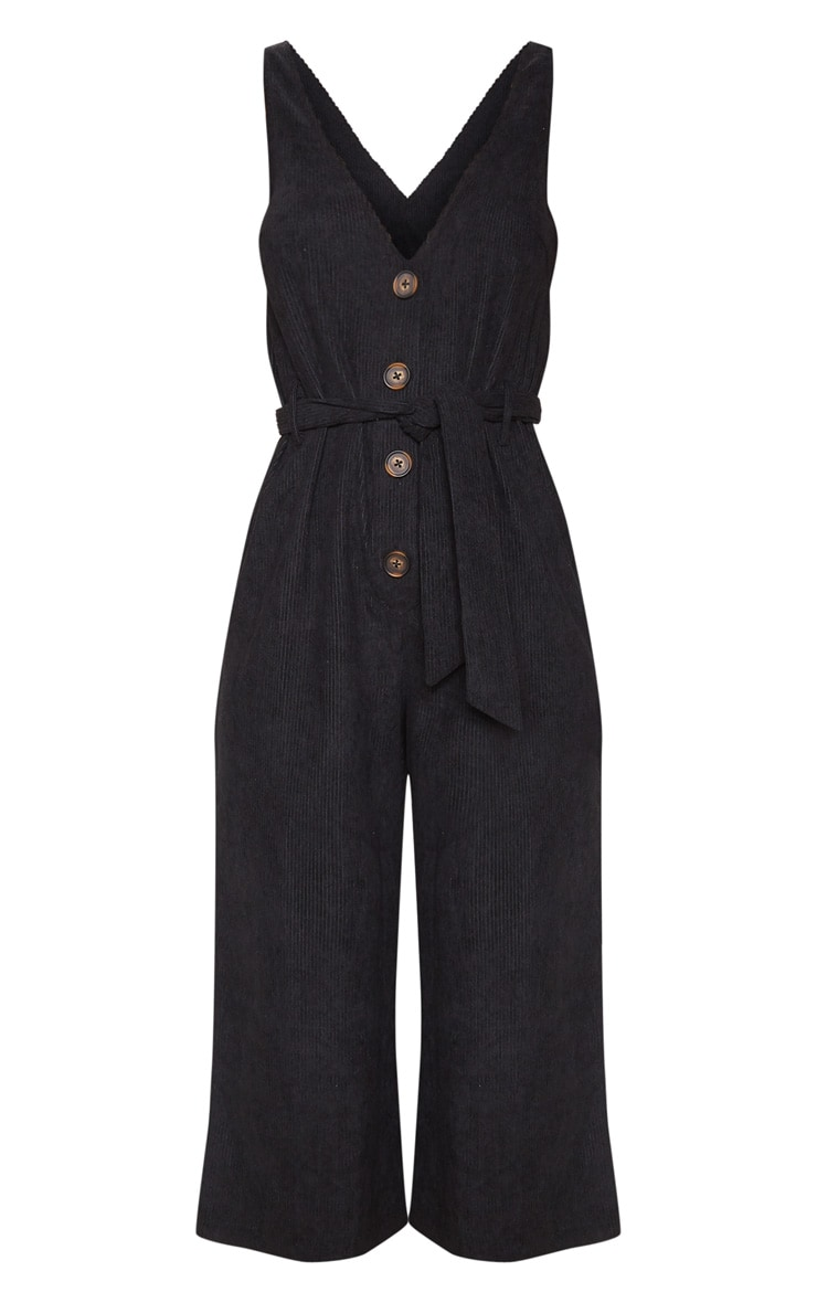 Black Cord Button Front Culotte Jumpsuit 3