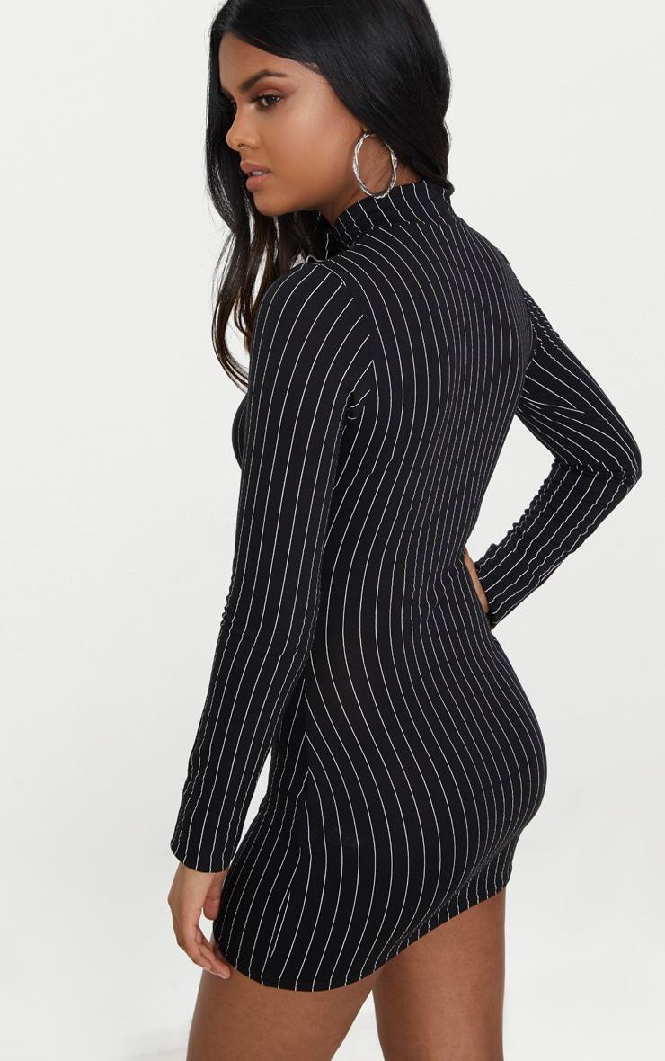 Petite Black Pinstripe High Neck Bodycon Dress 2