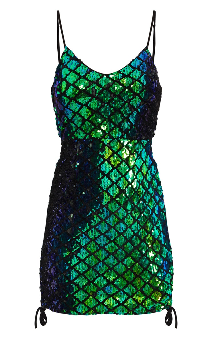 Green Sequin Lace Side Bodycon Dress  3