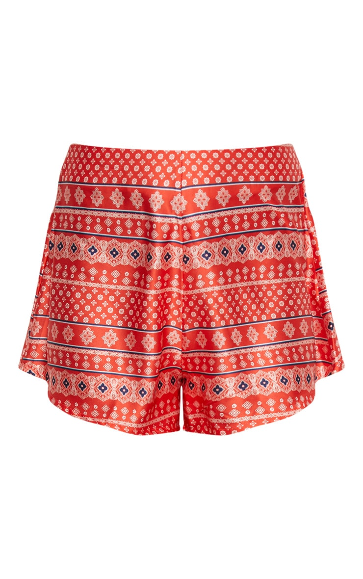 Orange Printed Shorts 3