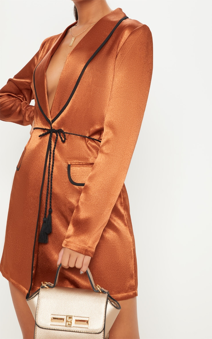 Rust Contrast Rope Detail Blazer Dress 5