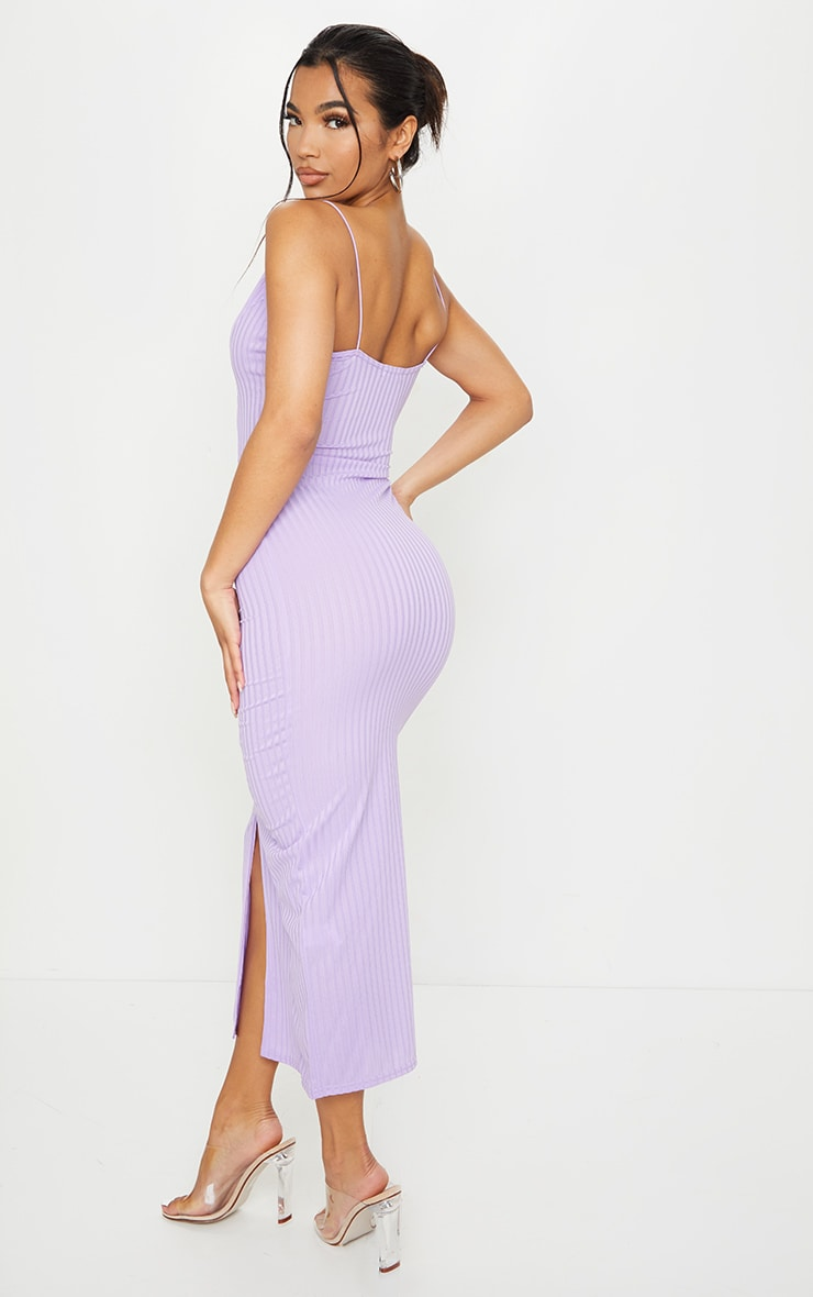 Lilac Strappy Plunge Ribbed Midaxi Dress 2