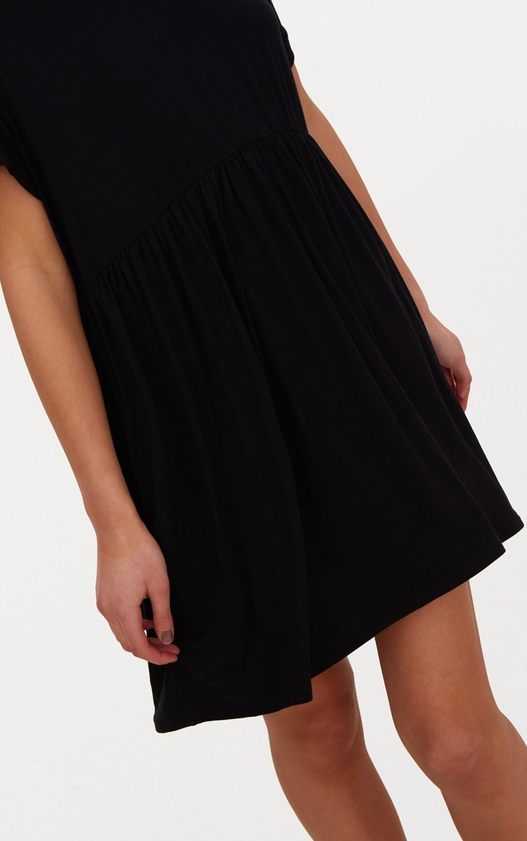 Black Jersey Oversized Smock Dress 5