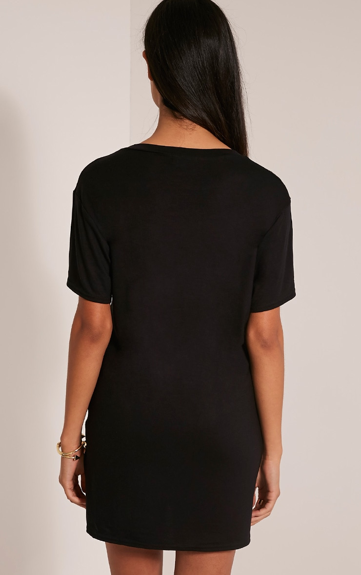 Petite Slay Slogan Black T Shirt Dress 2