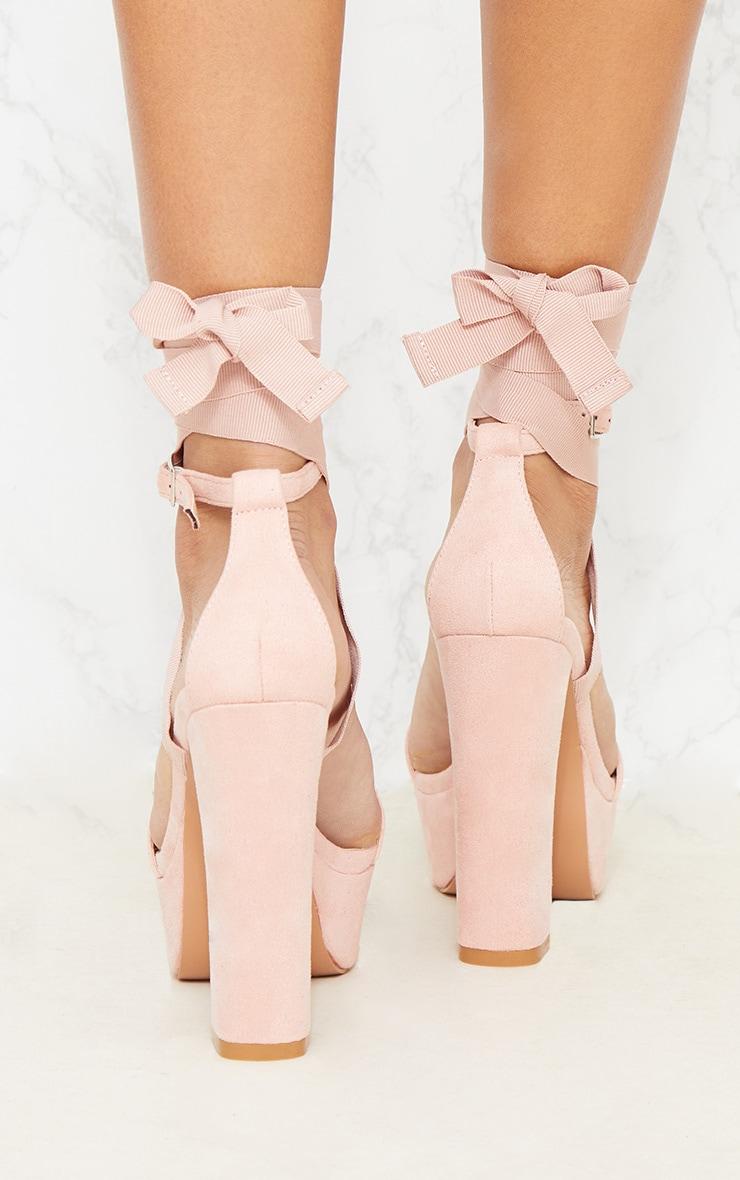 Nude Leg Wrap Platform Sandal 4
