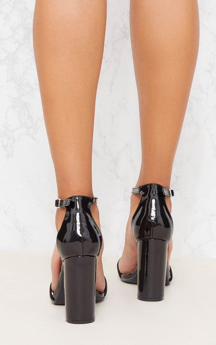 Black Patent Block Heel Strappy Sandal 4