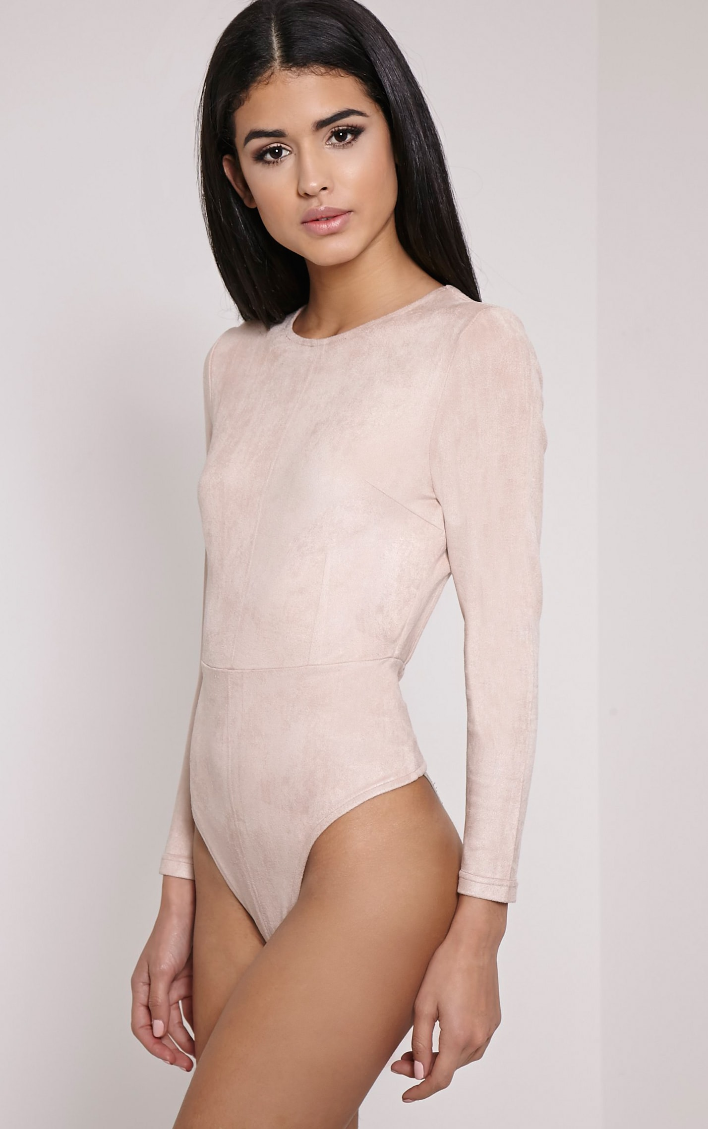 Rayna Beige Faux Suede Backless Buckle Bodysuit 5