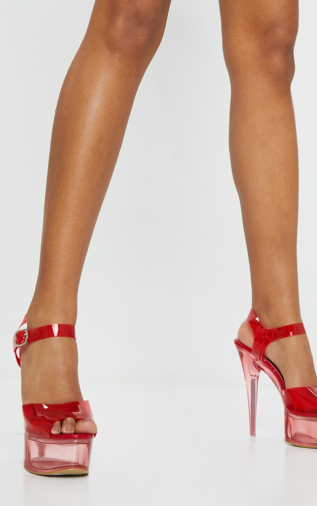 Red Extreme Clear Platform Sandals 1