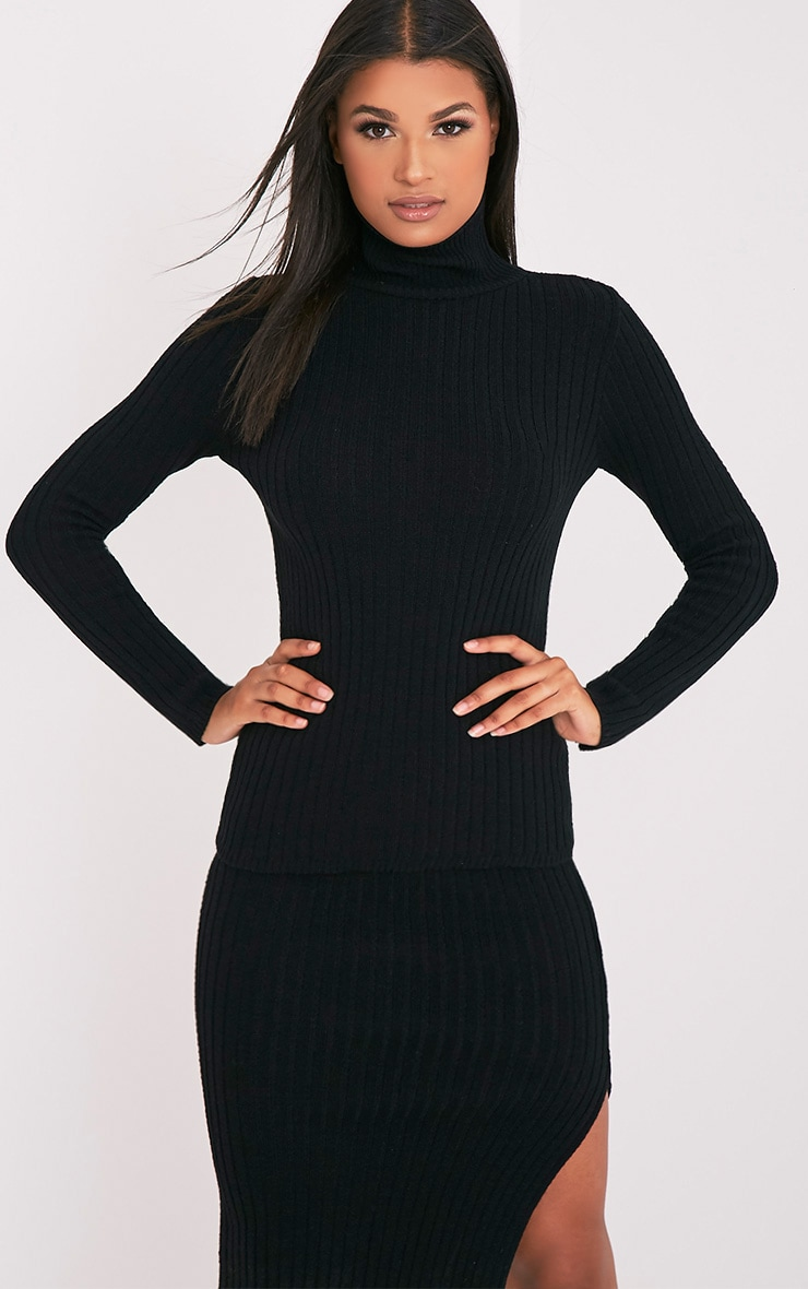 Ulanie Black Turtle Neck Ribbed Knitted Jumper 1