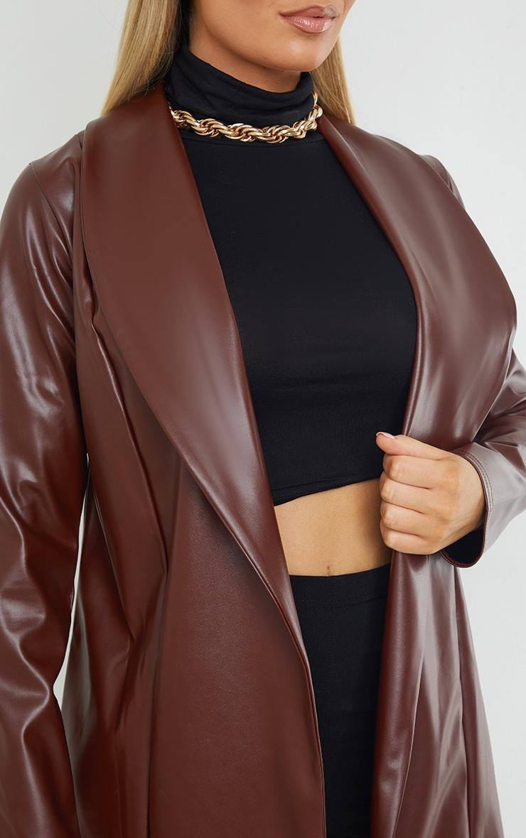 Chocolate Drop Collar Faux Leather Blazer 4