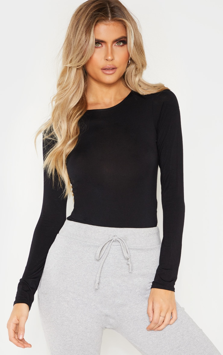 Tall Black Basic Crew Neck Long Sleeve Bodysuit 1