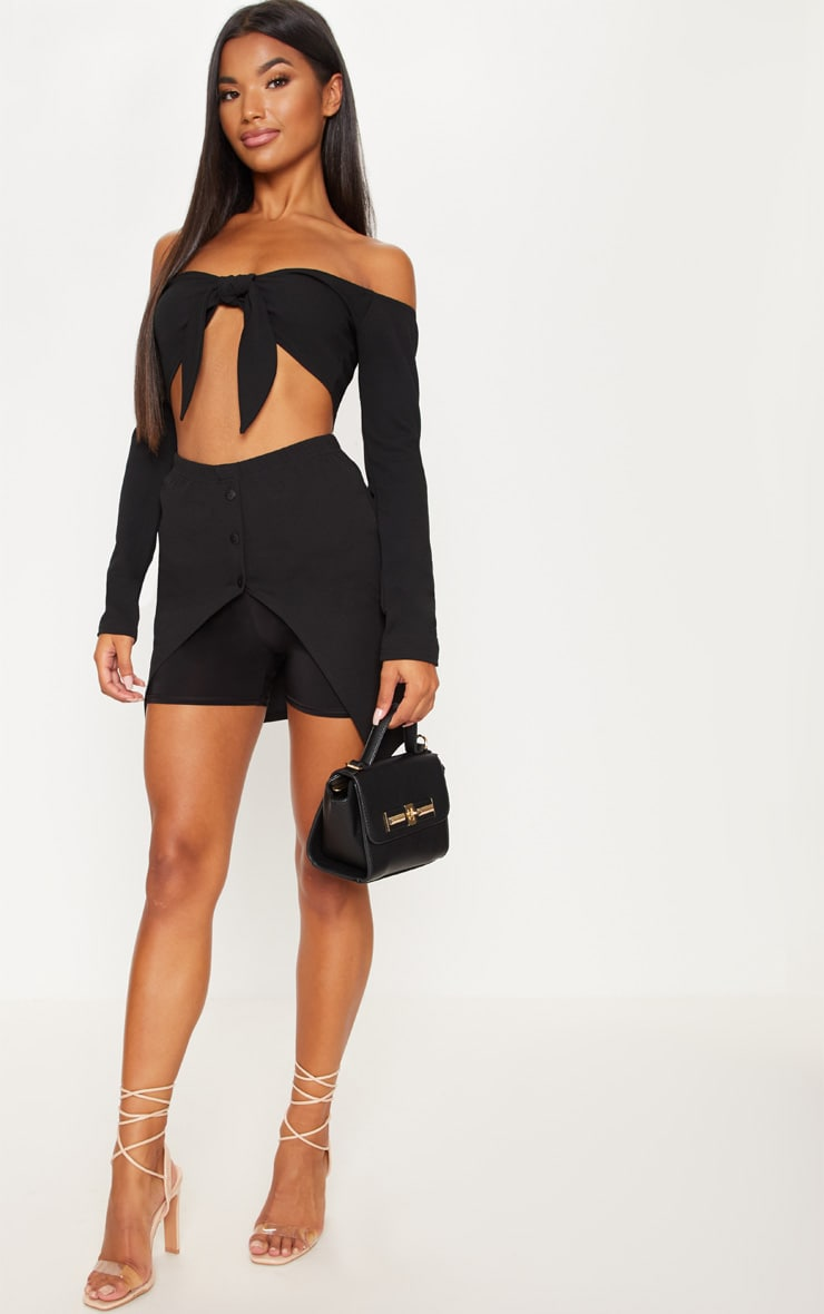 Black Bardot Tie Front Crop Top