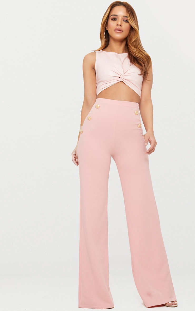 Petite Dusty Pink Military Button Wide Leg Trousers 1