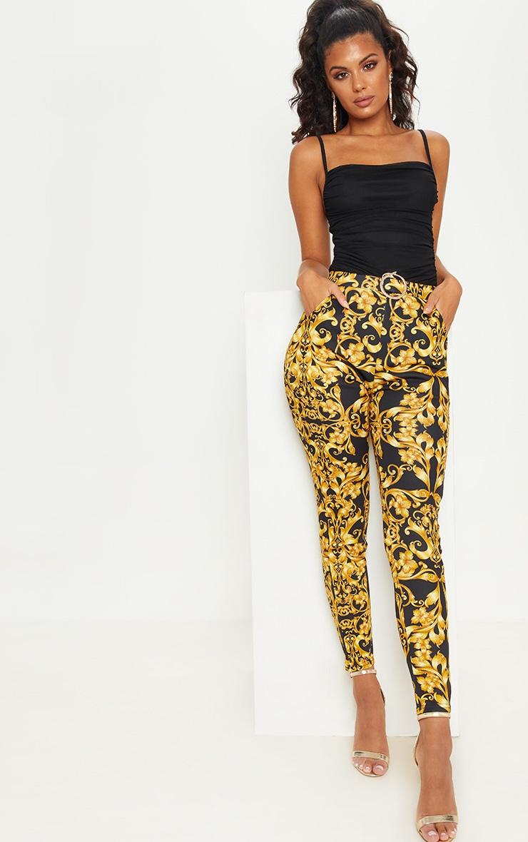 Gold Snake Trim Printed Skinny Trouser 1