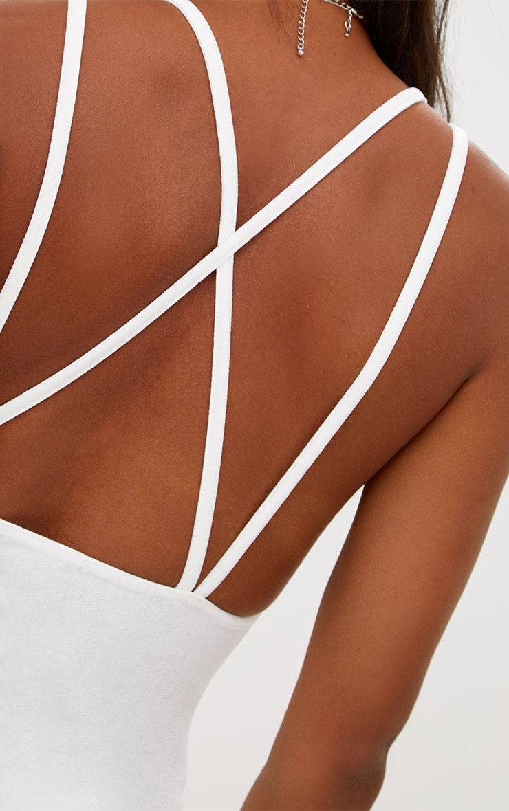 White Ruched Mesh Plunge Thong Bodysuit 6