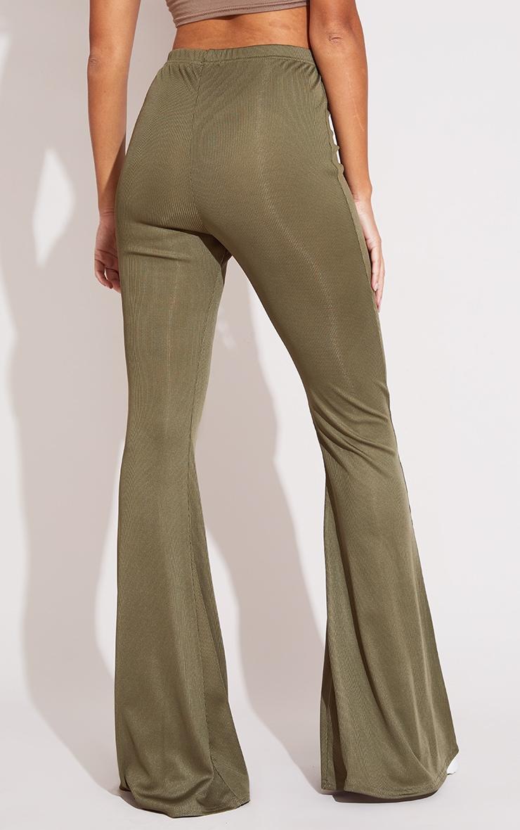 Khaki Rib Flared Trousers 3
