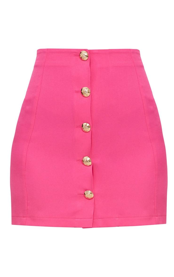 Petite Hot Pink Button Detail Mini Skirt 3