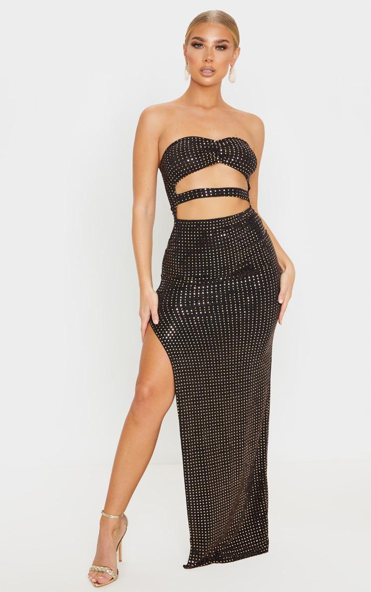 Black Sequin Bandeau Cut Out Maxi Dress 1