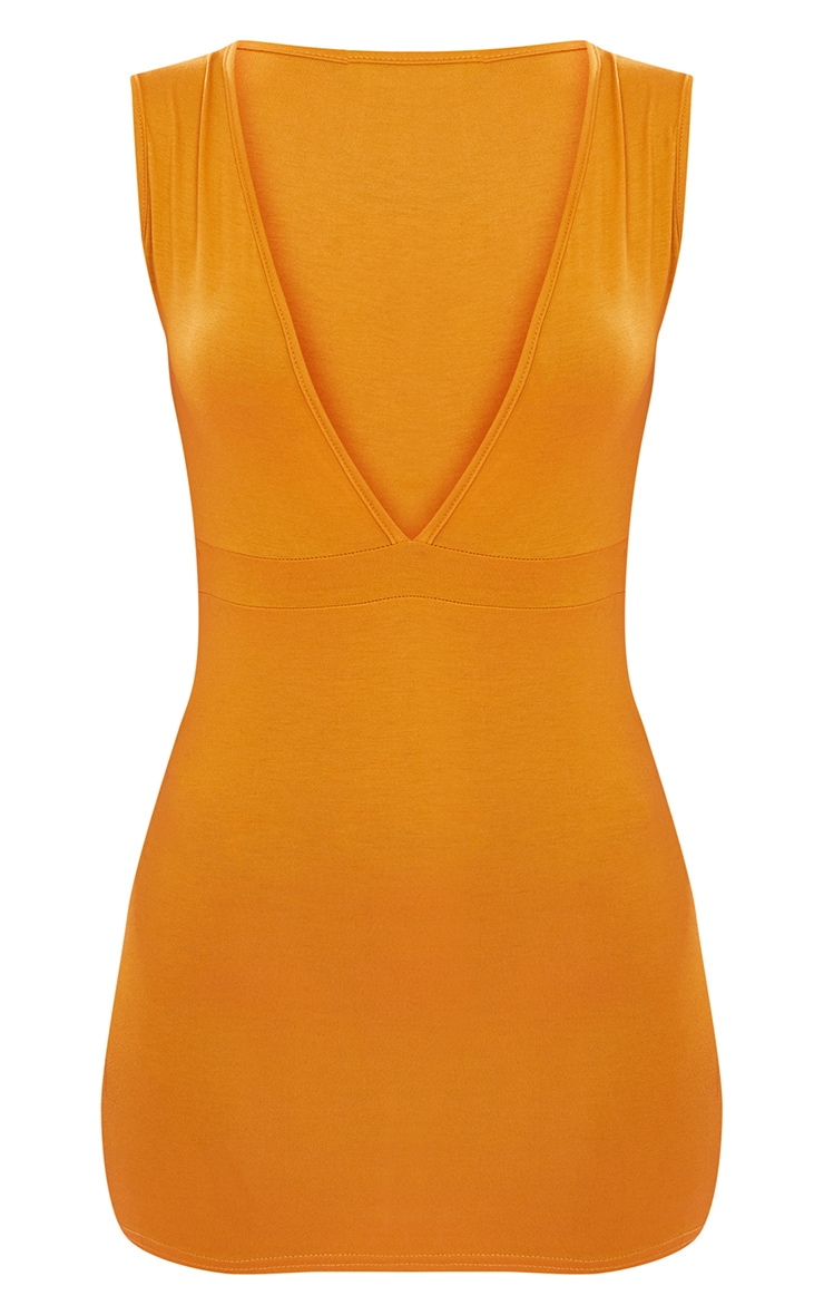Mustard Extreme Plunge Bodycon Dress 4
