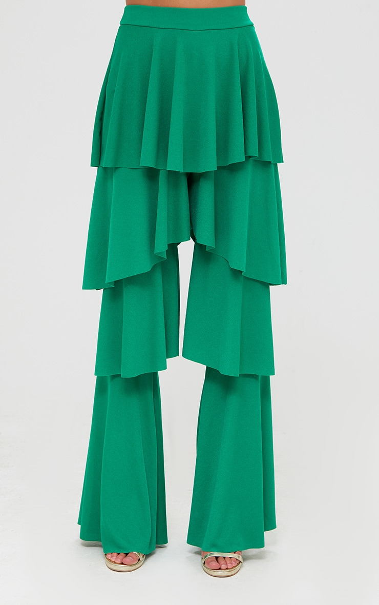 Green Tiered Frill Wide Leg Trousers 2