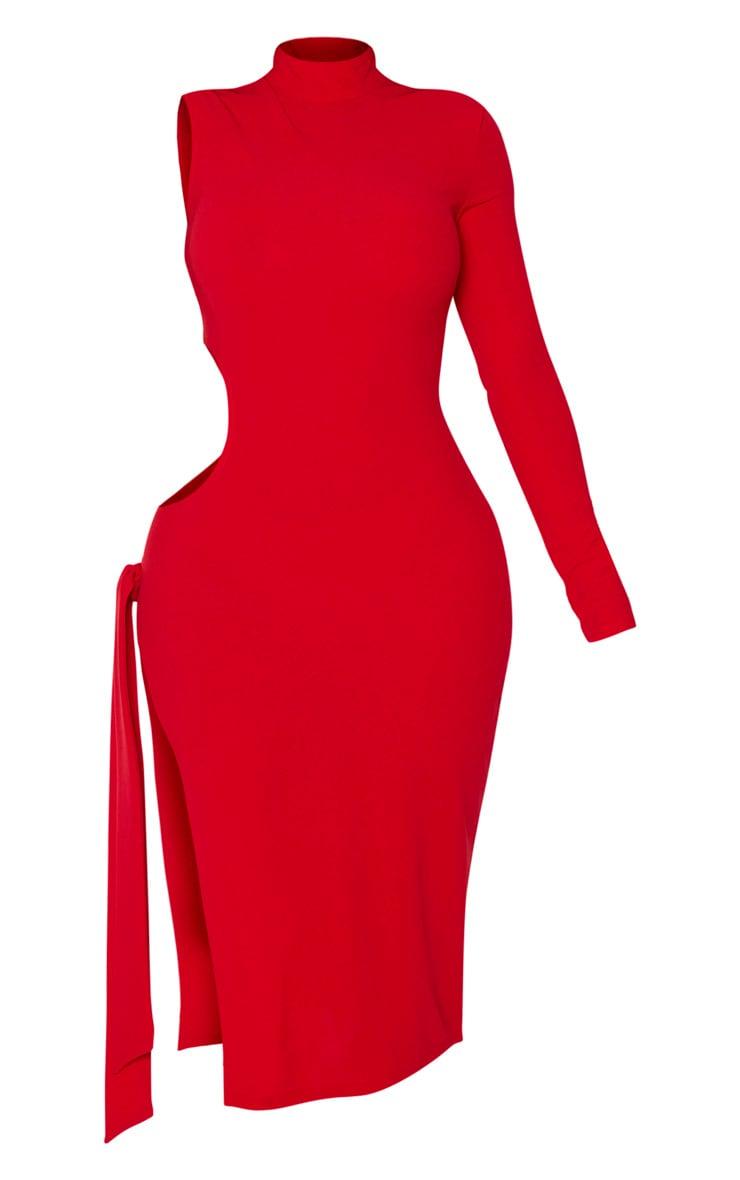 Shape - Robe mi-longue rouge découpée à manche unique et lien sur le côté 5