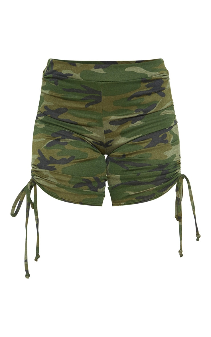 Khaki Camo Print Ruched Side Cycle Short 3