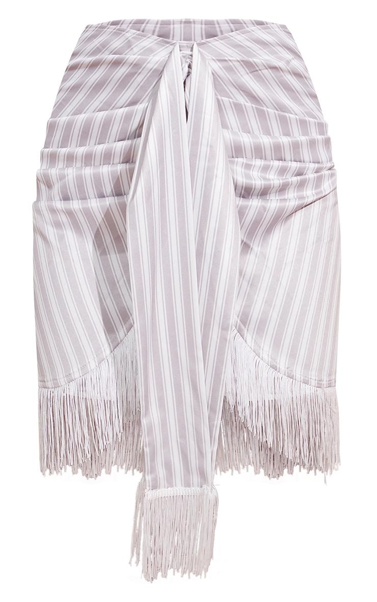Stone Stripe Tassel Hem Mini Skirt 6