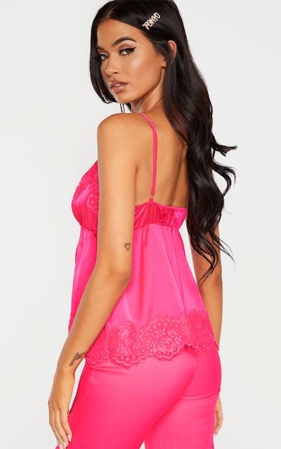 Hot Pink Satin Spilt Front Detail Cami