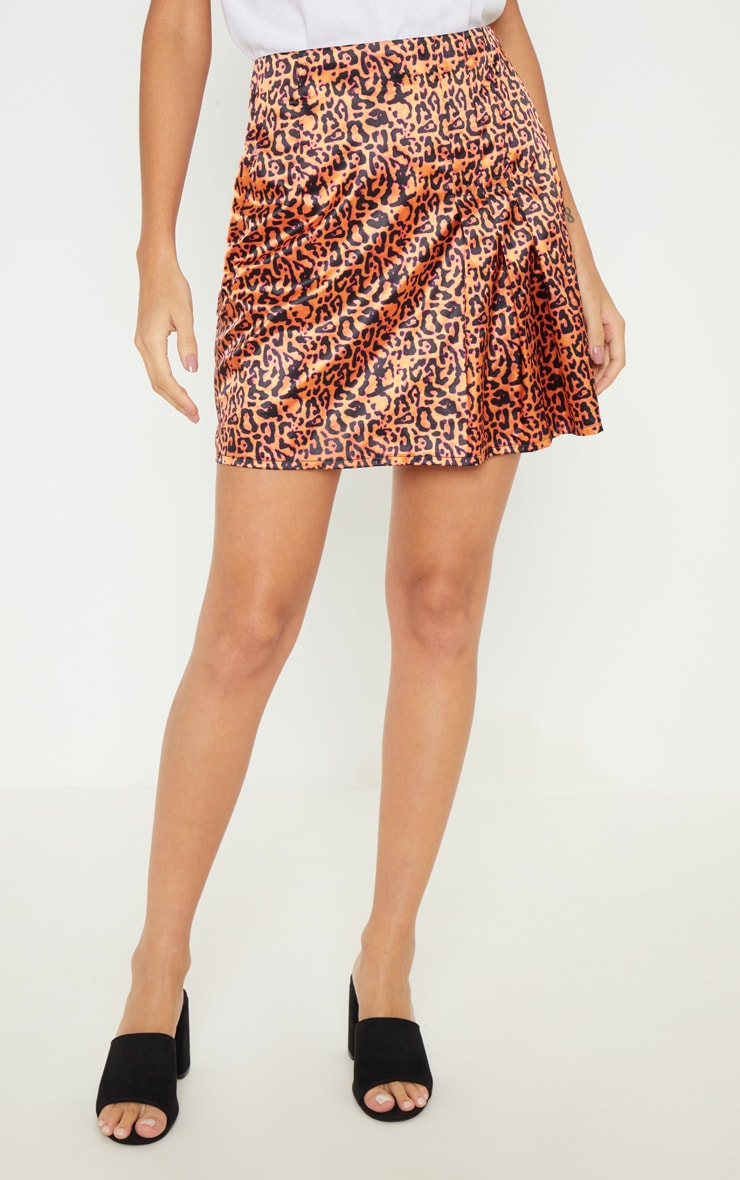 Orange Neon Leopard Print Pleat Detail Mini Skirt 2