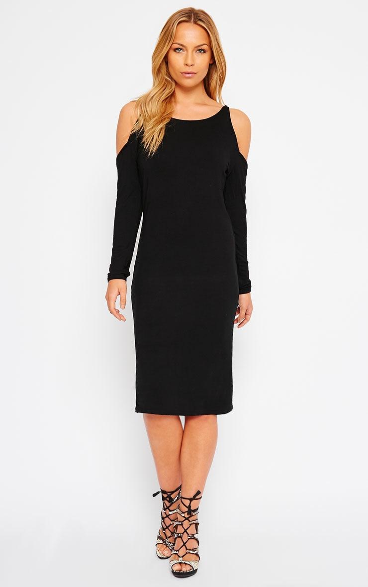 Izadora Black Cut Out Long Sleeve Midi Dress 3