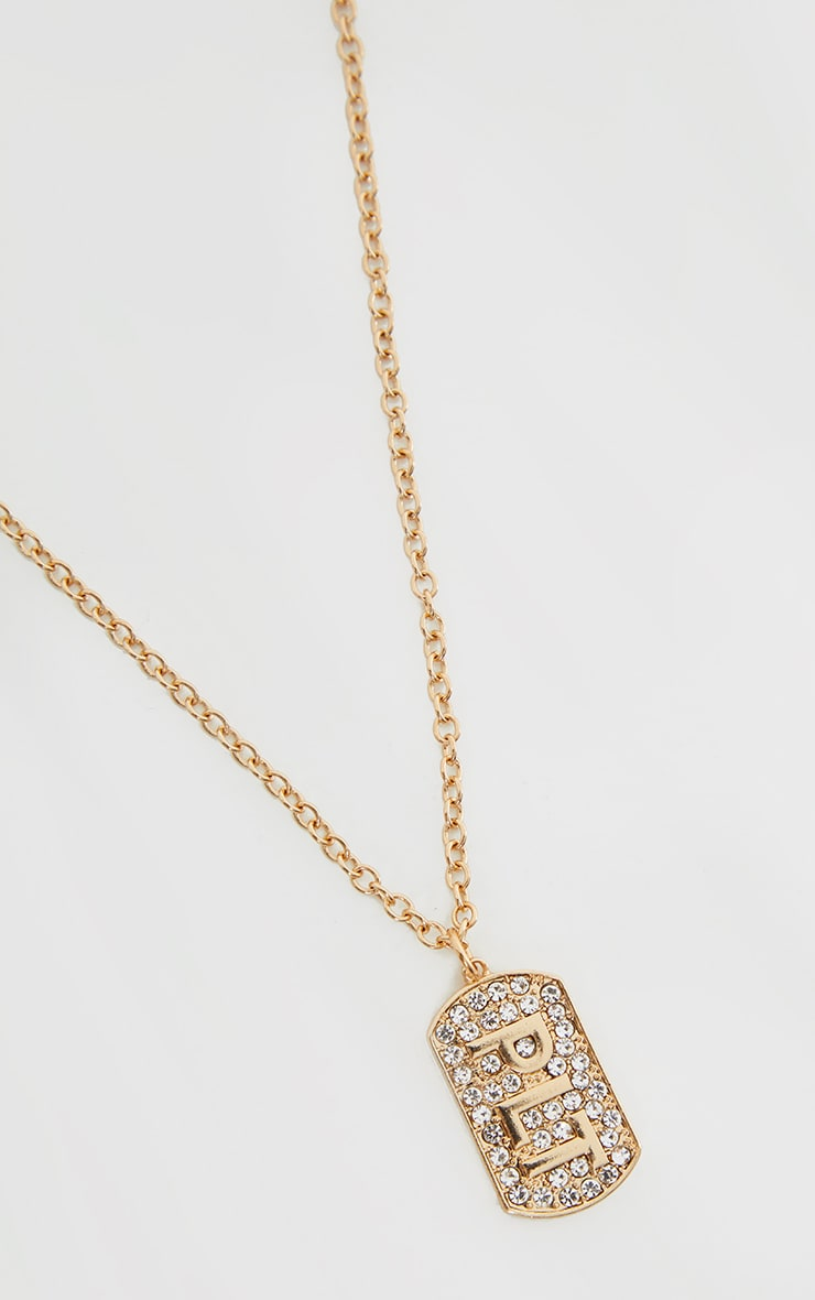 PRETTYLITTLETHING Gold Diamante Dog Tag Necklace 1