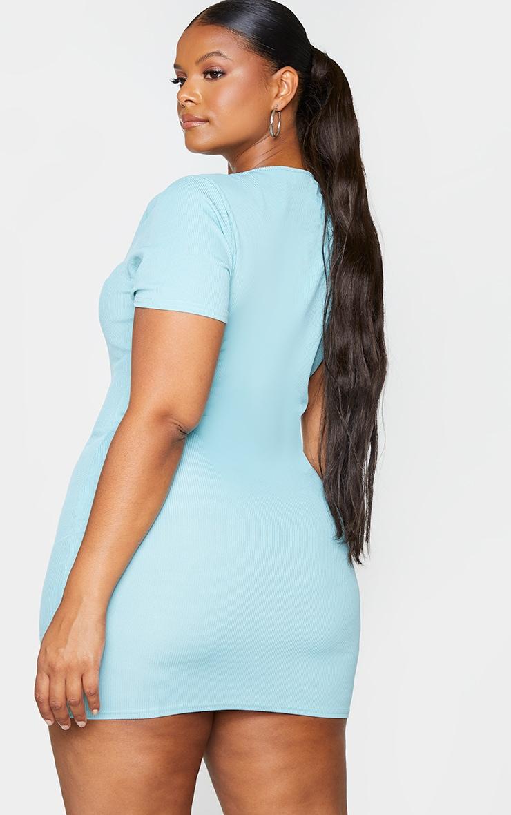 RECYCLED Plus Sage Blue Rib Short Sleeve Split Neck Bodycon Dress 2
