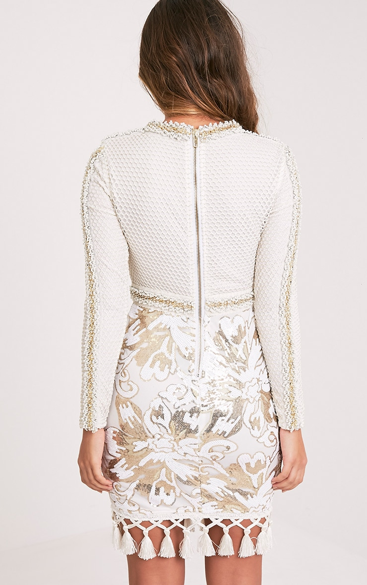 Nhyla White Premium Embellished Sequin Bodycon Dress 3
