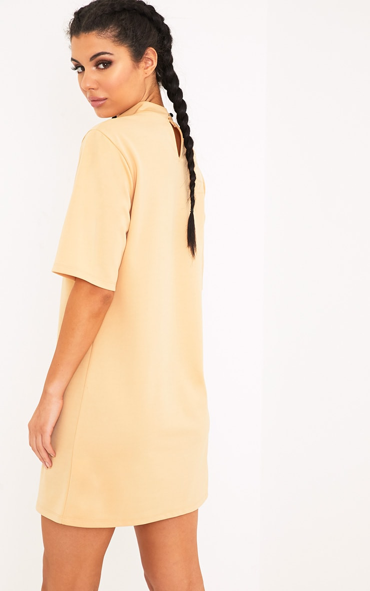 Erennie Buttermilk Scuba High Neck Shift Dress 2