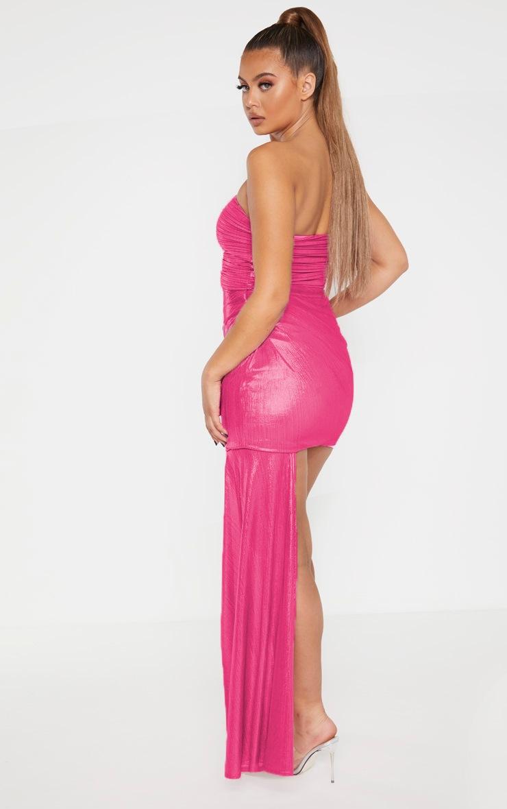 Pink Metallic Bandeau Drape Bodycon Dress 2