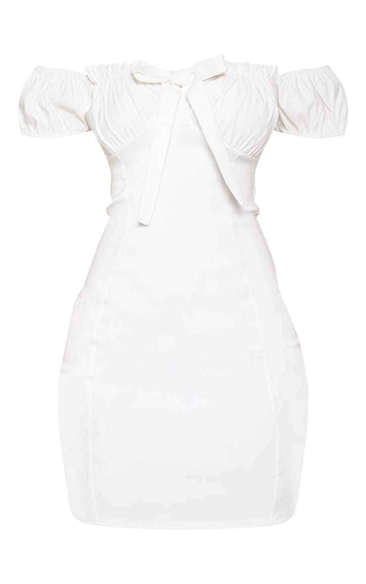 White Woven Bardot Tie Front Bodycon Dress 3