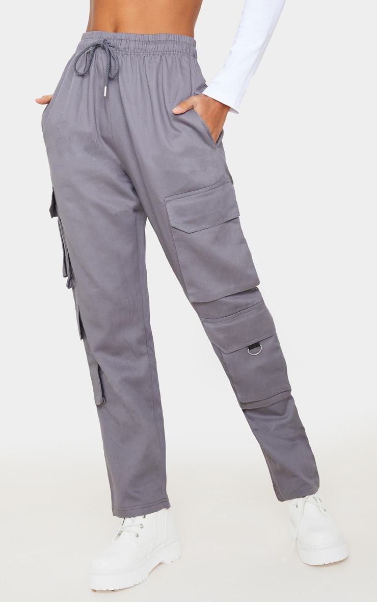Grey Twill Oversized Utility Pants 2
