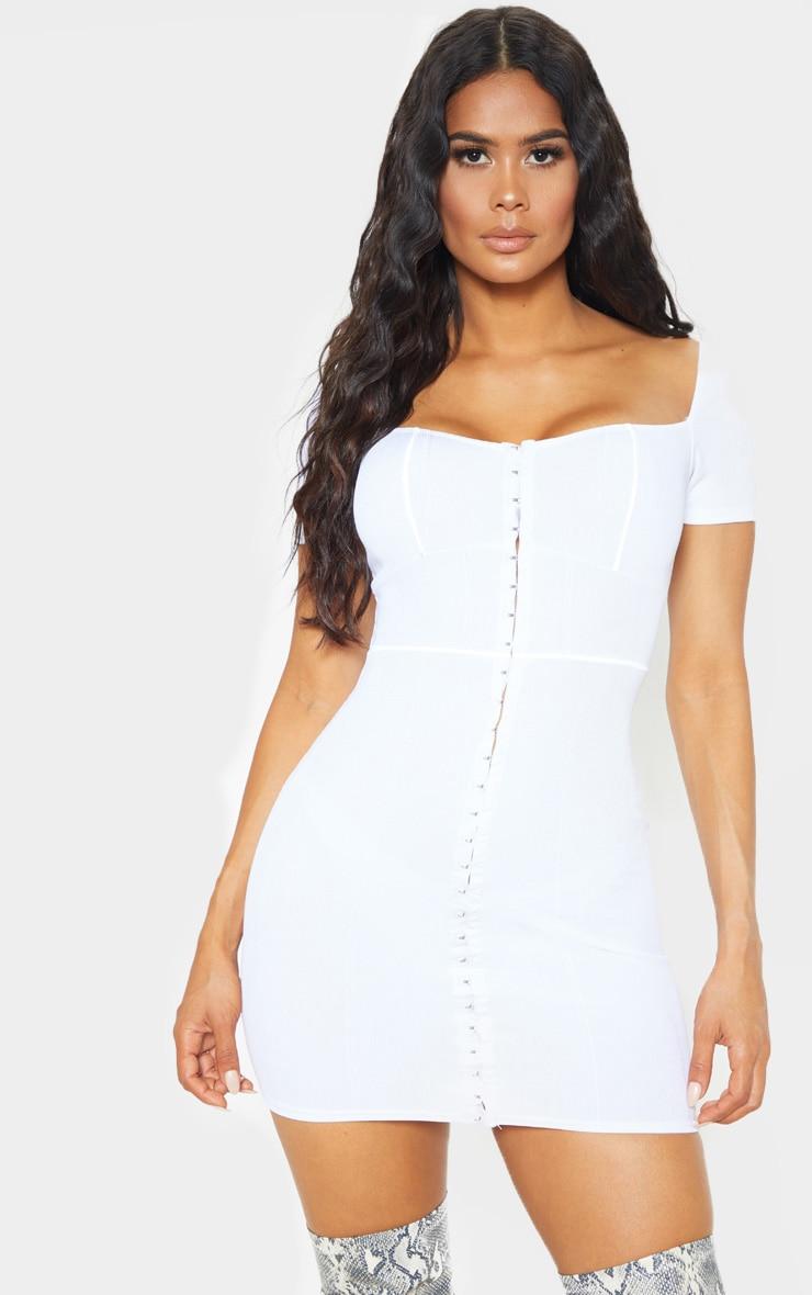 White Bandage Hook & Eye Short Sleeve Bodycon Dress 1