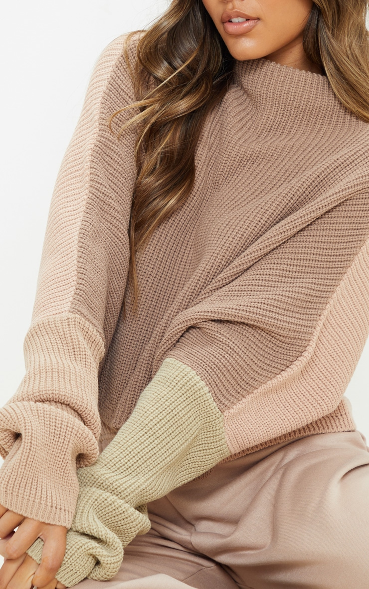 Stone Oversized Colour Block Sweater 5