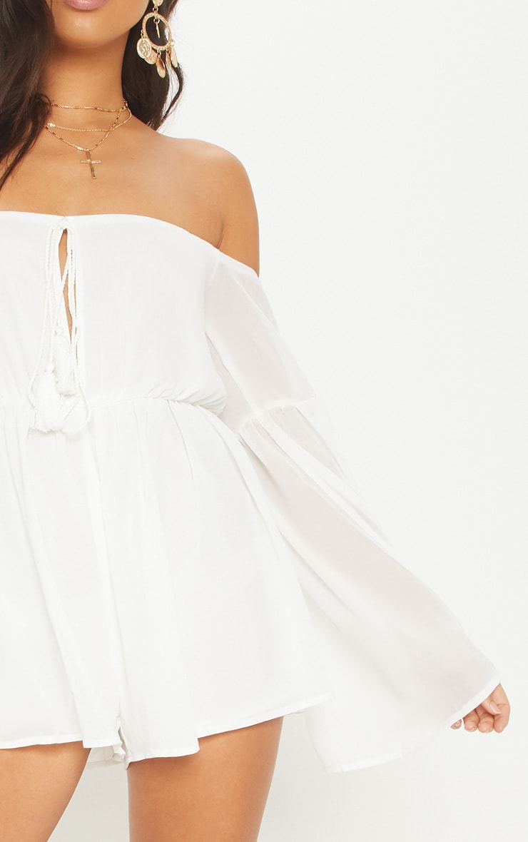 White Chiffon Flared Sleeve Playsuit 6