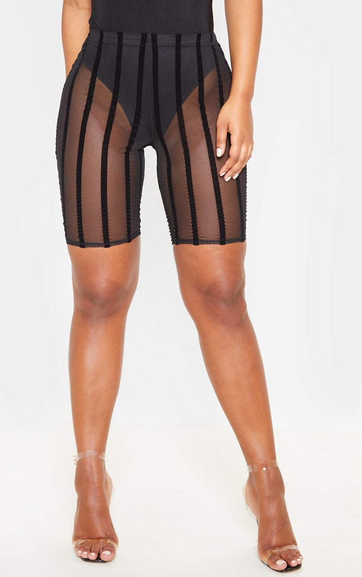 Black Mesh Striped Cycle Short  4