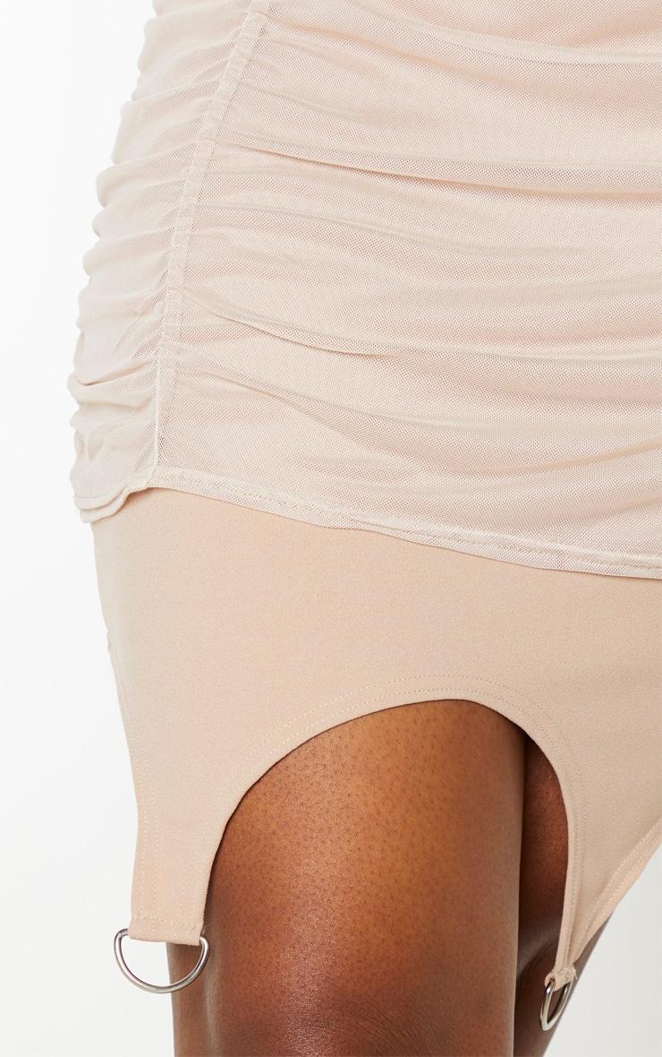 Stone Strappy Mesh Ruched Suspender Detail Bodycon Dress 5