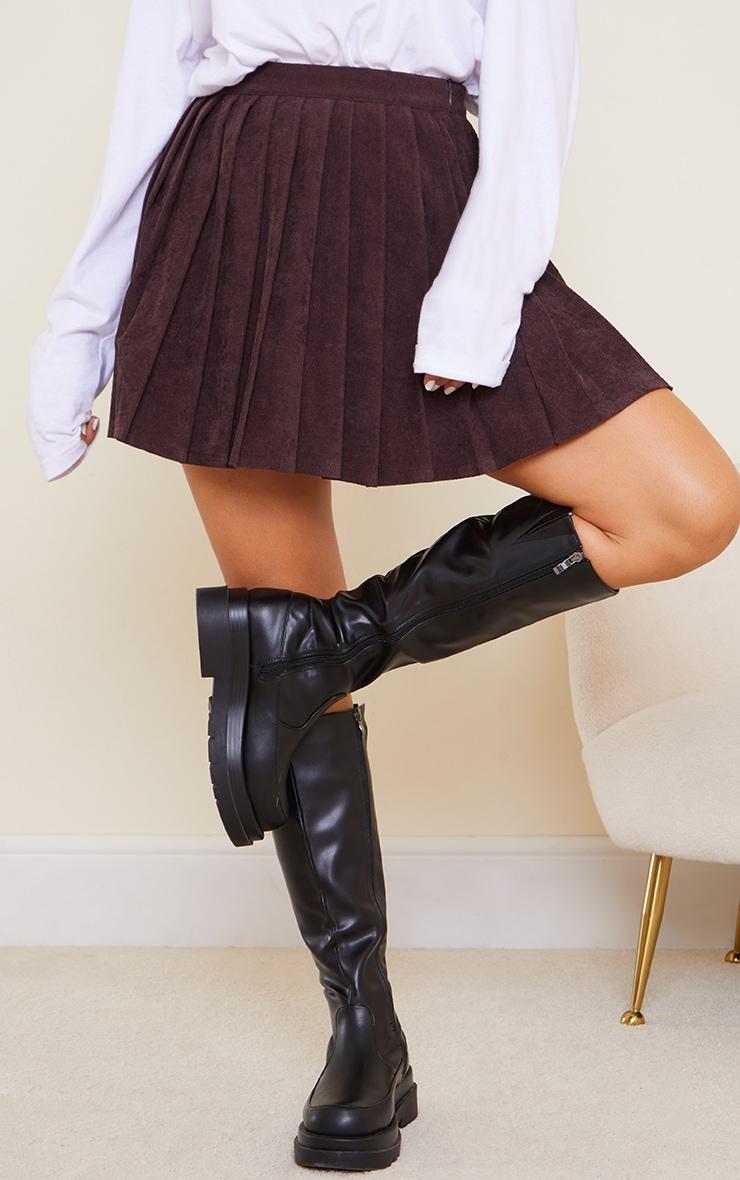 Chocolate Cord Skater Skirt 2