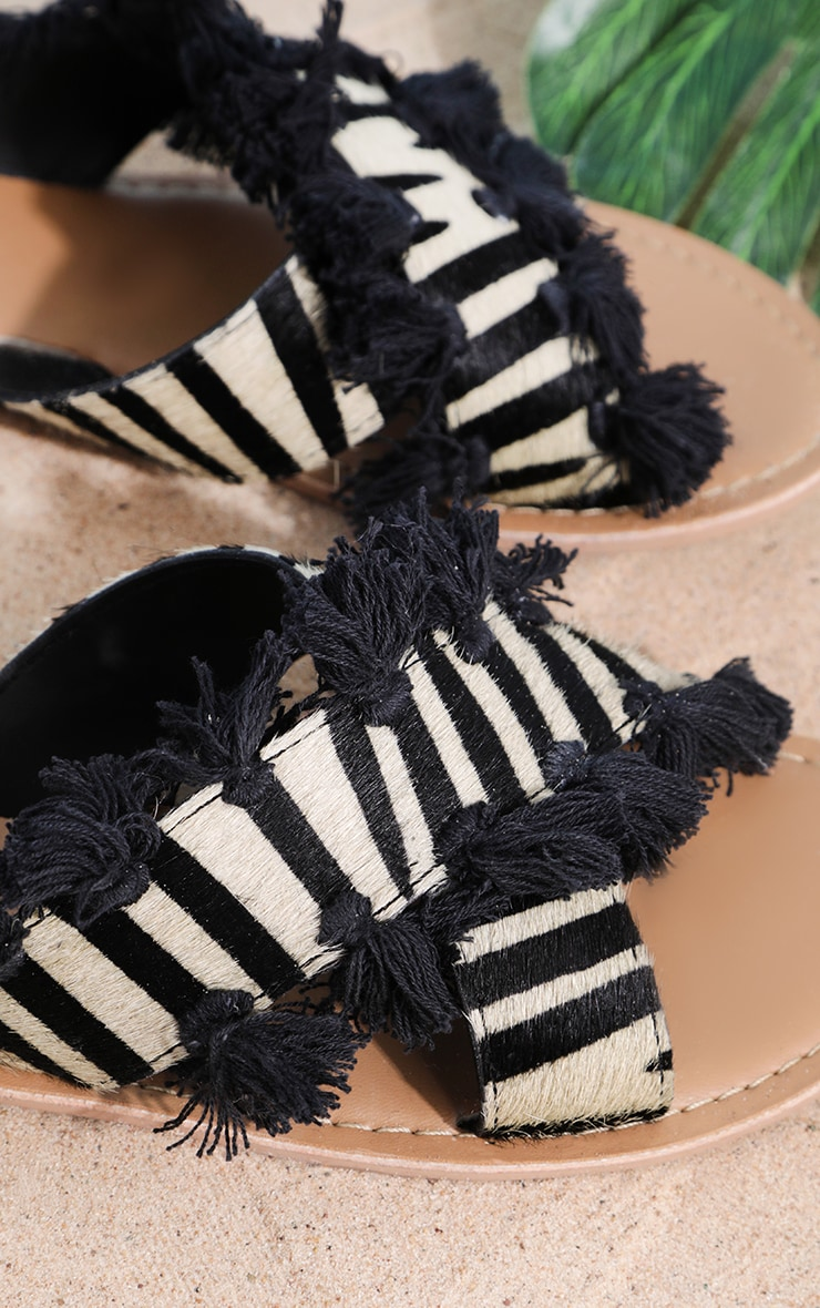 Zebra Cross Strap Tassel Mule Sandal 4