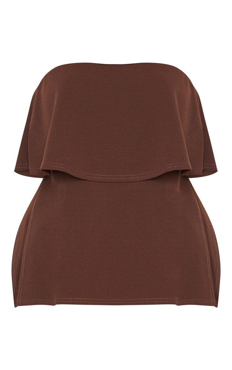 Plus Chocolate Brown Bandeau Frill Overlay Top 3