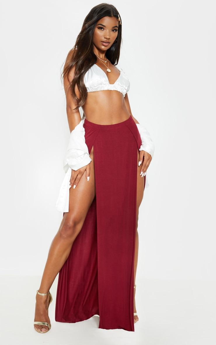 Burgundy Double Split Maxi Skirt 1