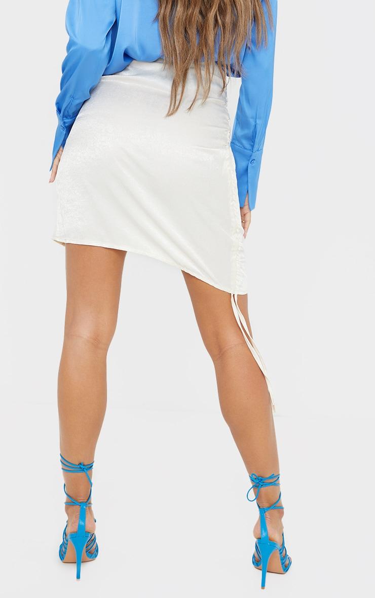 Cream Hammered Satin Ruched Detail Mini Skirt 3
