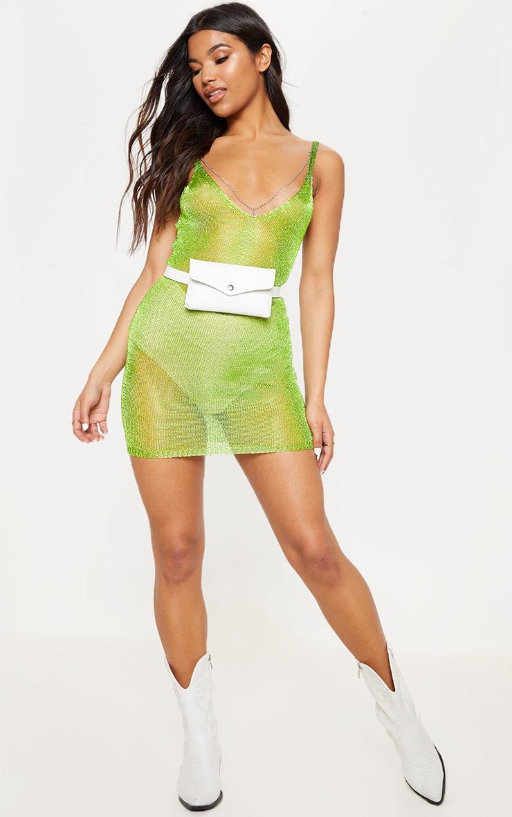 Lime Green Chain Detail Metallic Dress 2