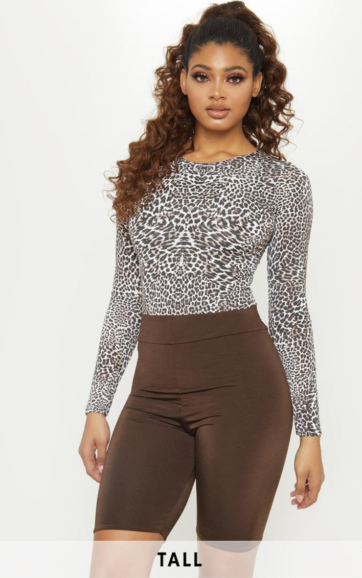Tall Tan Slinky Long Sleeve Leopard Printed Bodysuit 1